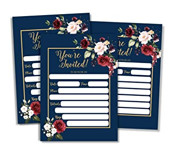 a6b29b43ffab Amazon.com   50 Floral Invitations (Large Size 5x7) Marsala Burgundy Navy  Bridal or Baby Shower Invite