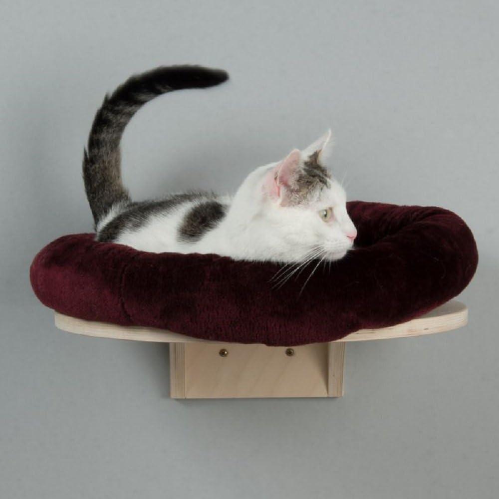 Natural Paradise - Cama de gato montada en la pared con cojín redondo de felpa (Borgoña)