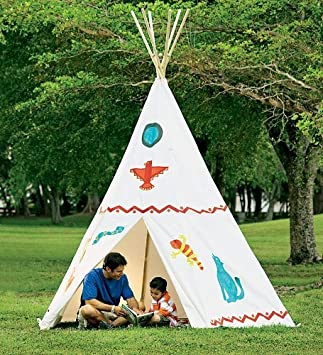 Family-Sized Teepee Cotton Canvas and Wood - White - 12u0027H x & Amazon.com: Family-Sized Teepee Cotton Canvas and Wood - White ...