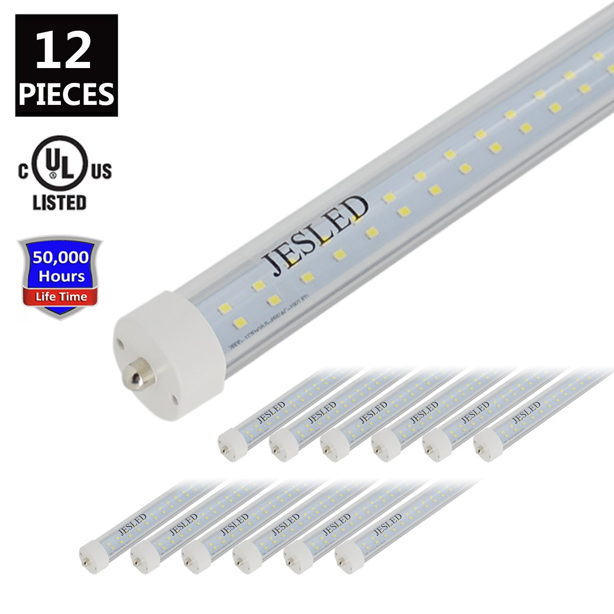JESLED T8/T10/T12 8FT 50W LED Tube Light, Single Pin FA8 Base, 5000K Daylight White, 6000 Lumens, 8 Foot Fluorescent Bulbs (130W Replacement), Clear Cover, Dual-Ended Power (12-Pack)