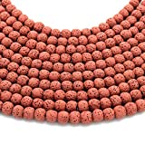 Red Colored Volcanic Lava Rock Round/Rondelle
