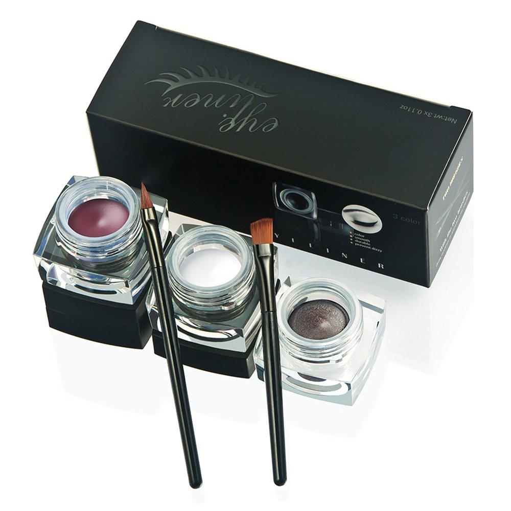 Wasserdicht 2 in 1 Gel Eyeliner-Fatetec Beauty Kosmetik Make Up Langlebige Schatten Gel Creme Eye Liner mit Makeup Augenbrauen Pinsel Kit (Set10)