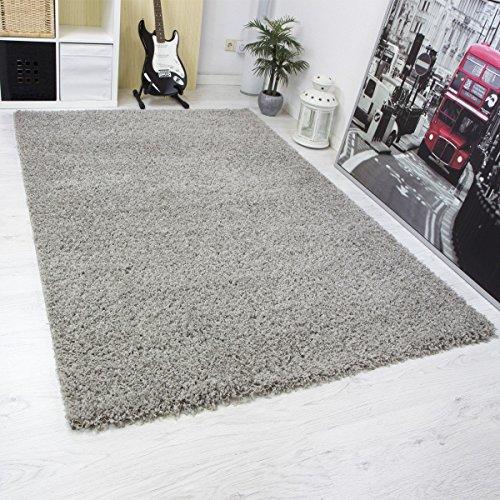 Moderner Hochflor Shaggy Teppich Uni Farben Hohe Qualität Grau versch Größen - VIMODA; Maße: 40x60 cm