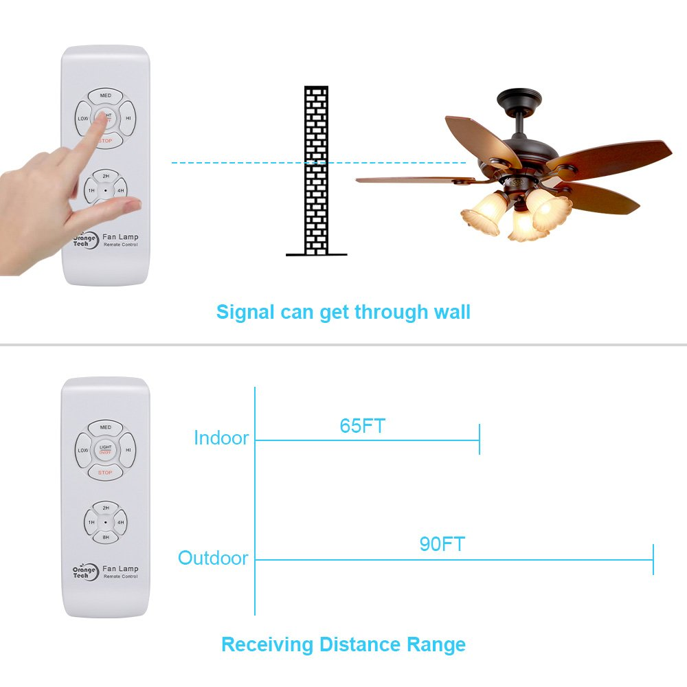 Orange Tech RF Ceiling Fan Lamp Remote Controller Universal Kit Wireless Control with Timing Setting for Home/ Office/Hotel/ Club / Display Hall/ Restaurant by ORANGE TECH (Image #5)