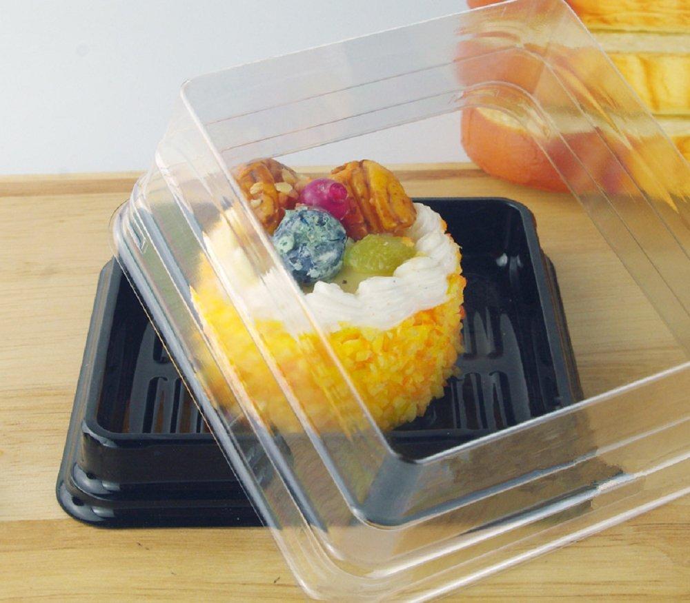 Cake Box - 4'' Transparent Plastic Mini Cake Box - Feast Cupcake Box - Muffin Box Biscuit Box Flat Top Box Bakery Cake Shop Sale Use (black) by Hewnda (Image #3)