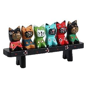 Himine Wooden Animal Cat Decoration Nativity Figurine Set