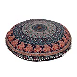 32'' Blue Bohemian Indian Decorative Floor Pillow Boho Mandala Hippie Cushion Sea Ottoman Poufs, Pom Pom Pillow Cases