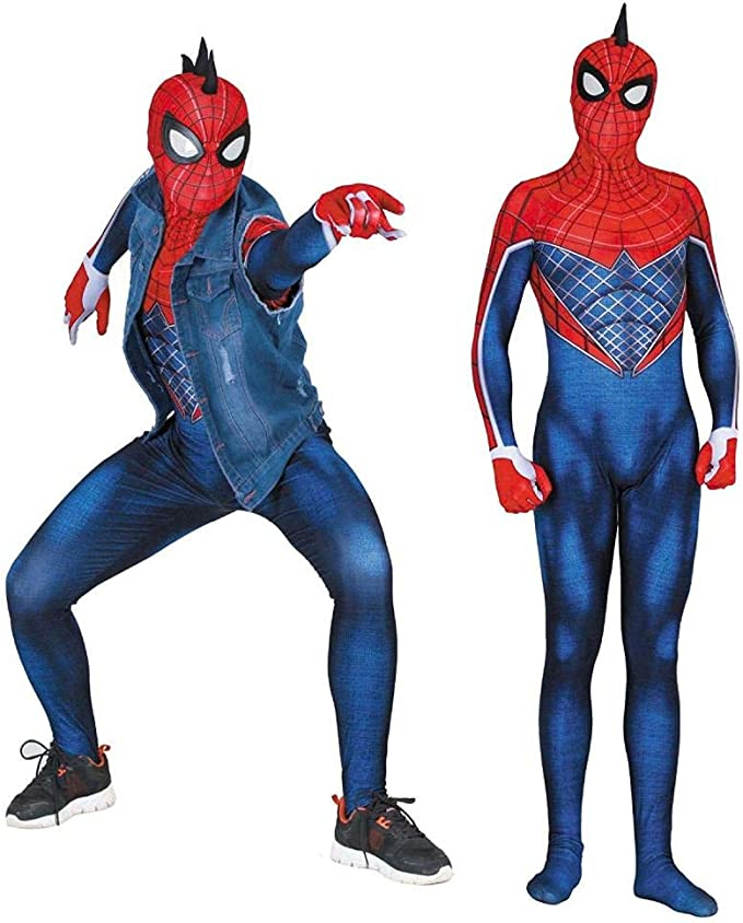 HUIHONG PS4 Punk Spiderman Cosplay Body Elástico Medias Jugar Ropa ...