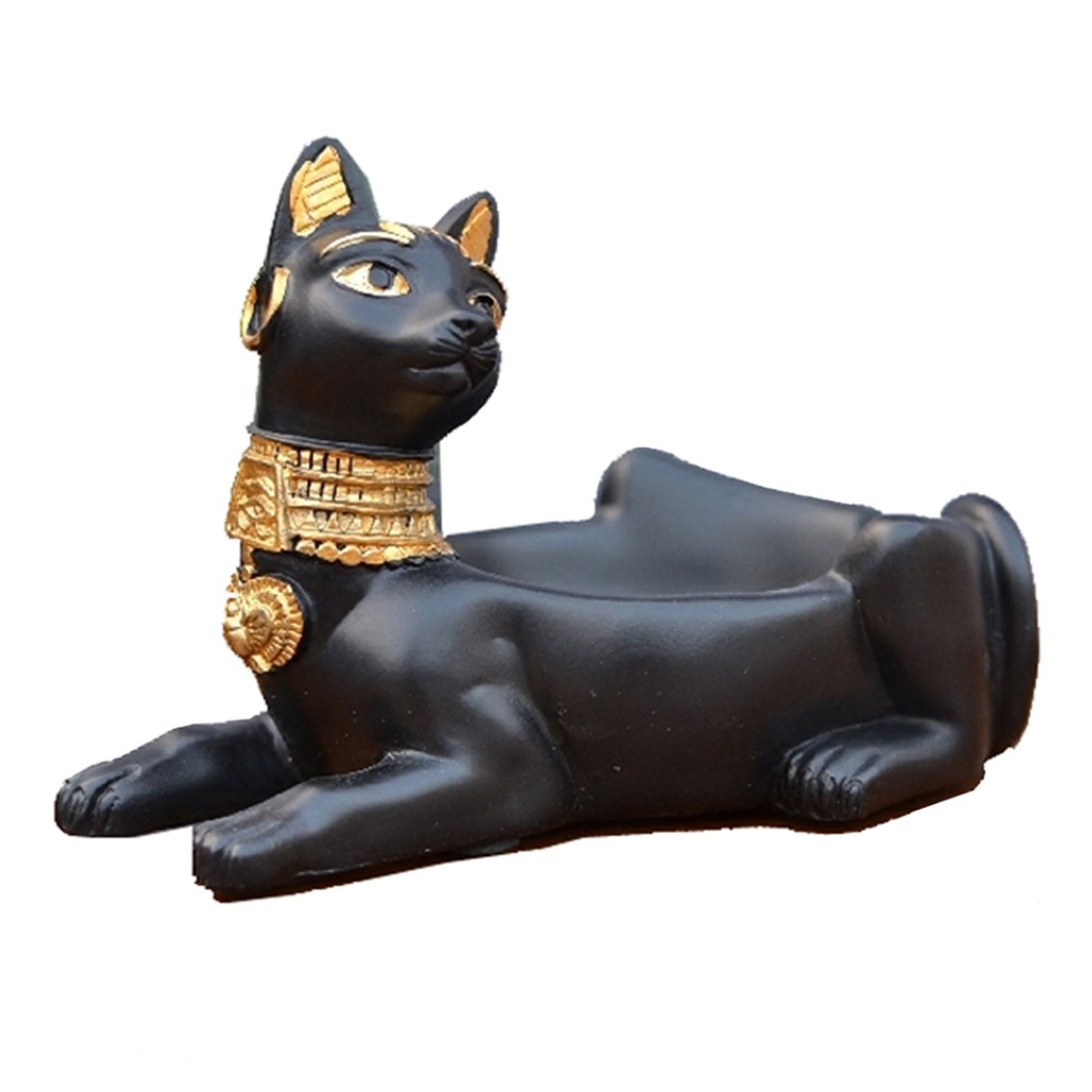 C & S Cigarette Ashtray Ancient Egyptian Bastet Cat Goddess Statue, Ash Holder for Smokers, Tabletop Smoking Ash Tray for Outdoor Indoor Home Office Bar Decoration, Creative Gift (Black)