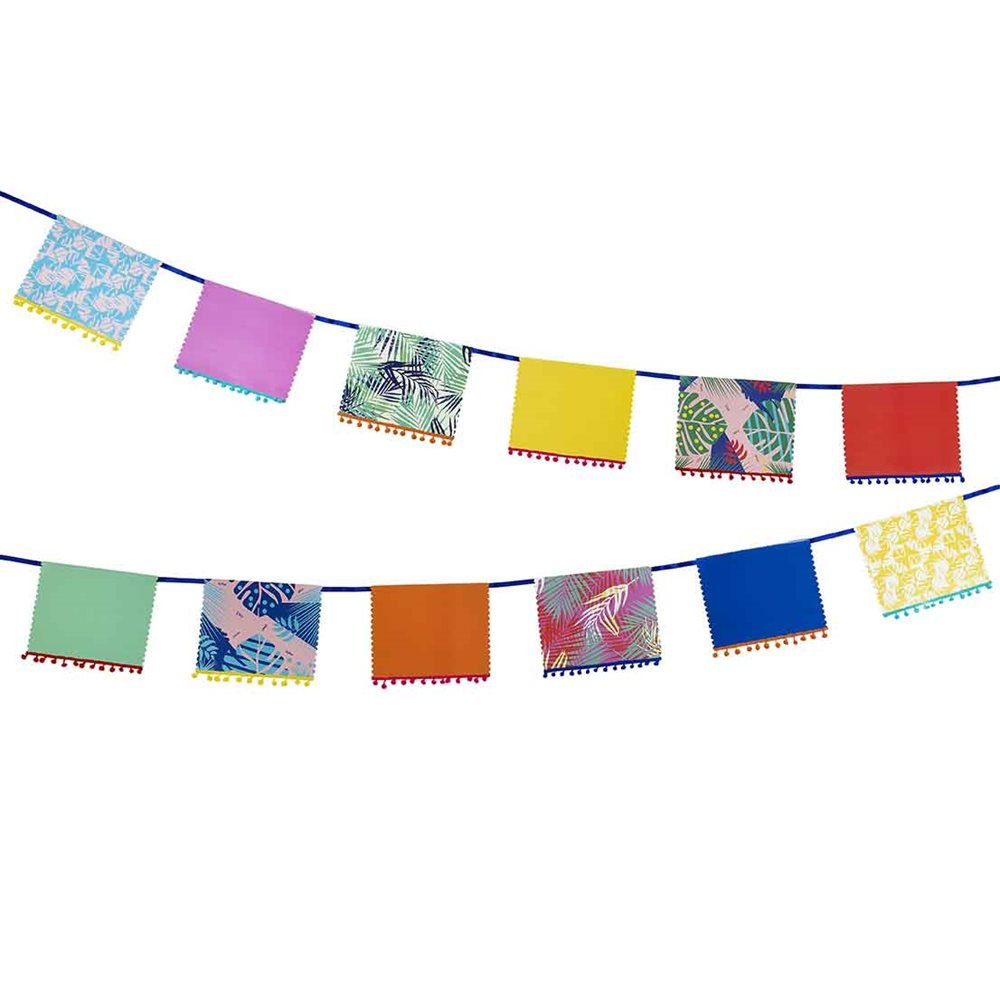 Talking Tables Cuban Fiesta Colorful Floral Banner Decor with Pom Pom Detail for your Home Décor or Colorful Party, Multicolor