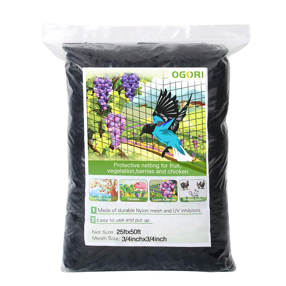 "OGORI 25 X 50 ft Bird Netting Poultry Netting Protect Plants and Fruit Trees Garden Net 3/4"" Square Mesh Size (25 X 50 ft)"