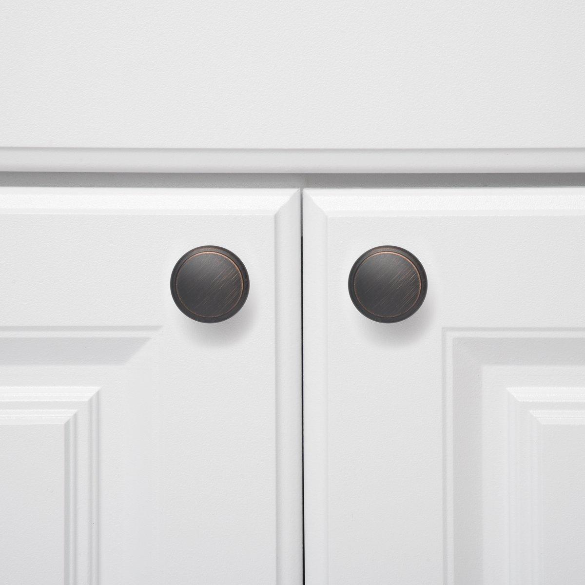 paquete de 25 Basics con forma de seta aplanada Pomo de armario plata envejecida 2.90 cm de di/ámetro
