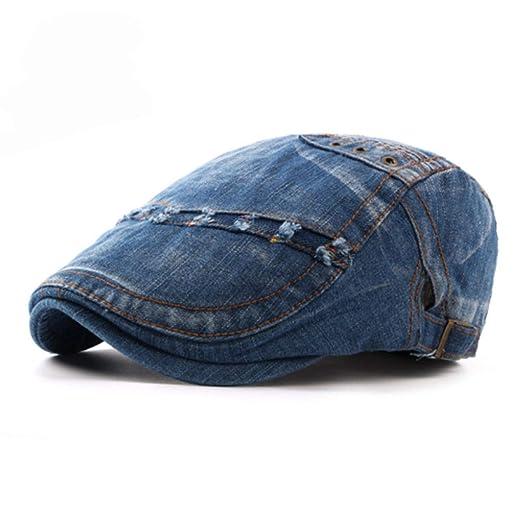 Zesoma Women Men Beret Cap Solid Denim Jeans Beret Hats for Men Spring Summer Visor Sun