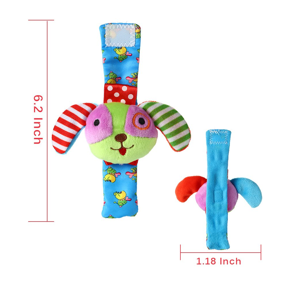 Acekid Baby Foot Rattle 4pcs Wrist Rattle And Socks Toys Set Toddler Soft Animal Toys Maiale e Cane