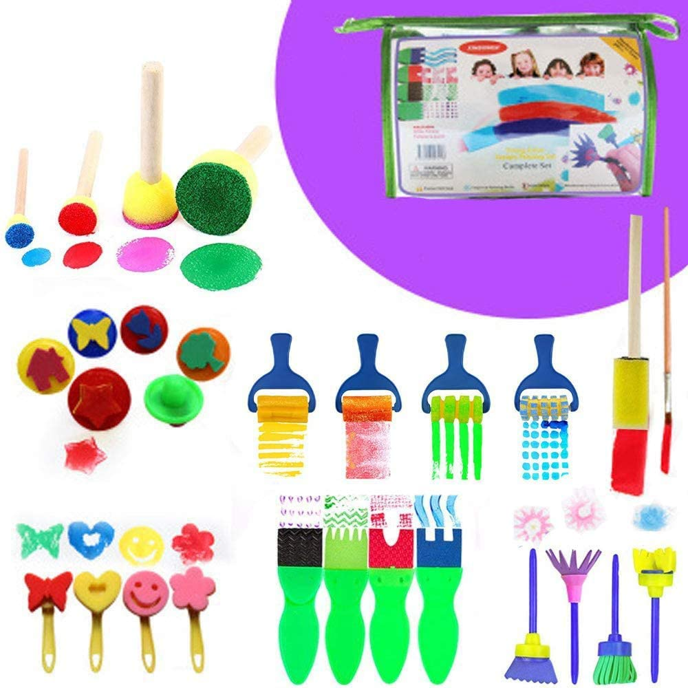 Early Learning Kids Art /& Craft Kit di Pittura per Bambini Lapprendimento DIY FUQUN 63 Pezzi Kit di Pennelli in Spugna Kit di Pennelli per Pennelli Grembiule Impermeabile