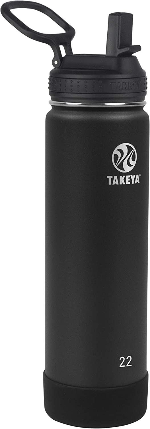Takeya Actives Insulated Water Bottle w/Straw Lid, Onyx, 22 Ounces