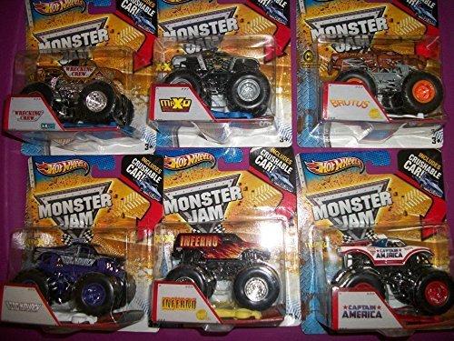 (6) Hot Wheels Crushable Cars/ Captain America/Inferno//King Krunch/Brutus/Maximum Destruction MAXo/Wreaking - Sunglasses Inferno