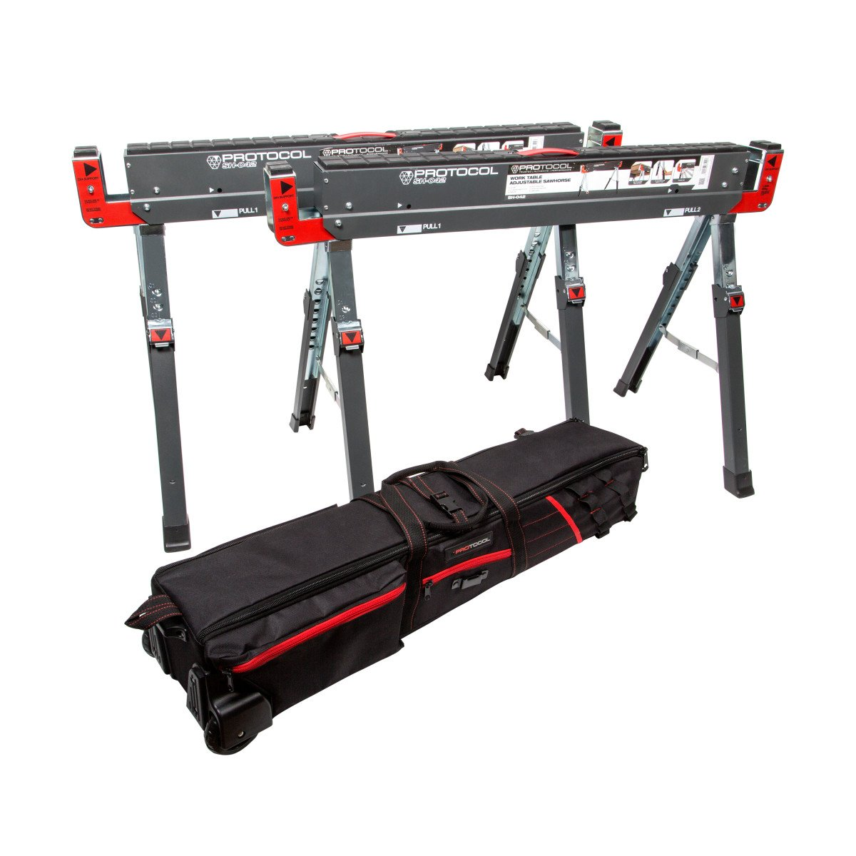 Durable Steel Construction Set of Two 2x4 Table Support Arms Folding Legs Combined Loading Capacity 2,600 lb PROTOCOL Equipment Adjustable Height Work Table Folding Sawhorses