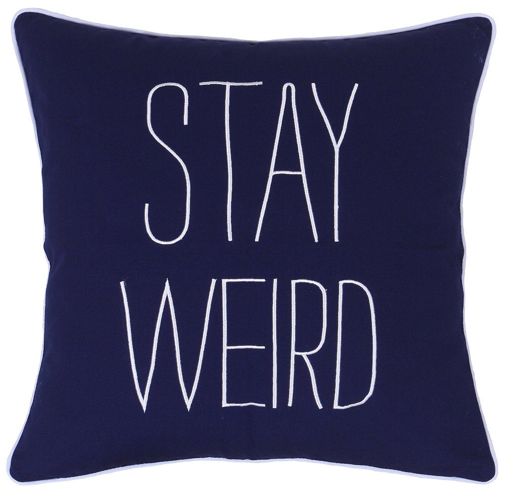DecorHouzz Pillow covers Stay Weird Funny Quote Embroidered Pillowcase Decorative Throw Cushion Cover Gift for Birthday Wedding Couple Anniversary Graduation (18X18, Stay Weird(Navy))