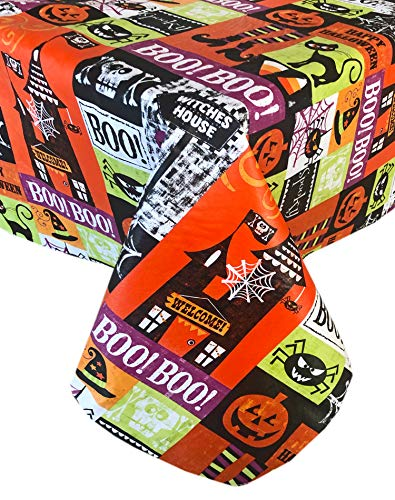 Halloween Vinyl Tablecloth (Newbridge Spooky Witches House Halloween Vinyl Flannel Backed Tablecloth - Jack O'Lantern, Black Cat, Spider Web Happy Halloween Tablecloth, Easy Care Wipe Clean, 60