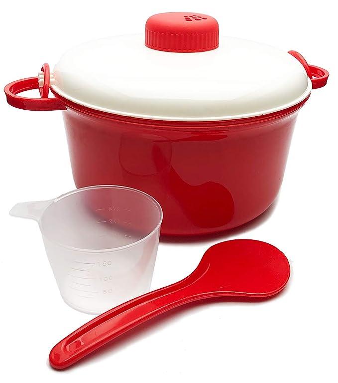 MovilCom® - Olla Vapor microondas | Escurridor, Cuchara y Vaso medidor | Cocina al Vapor | fácil, rápido