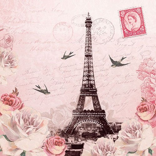 4 Paper Napkins for Decoupage - 3-ply, 33 x 33cm - Letter to Paris Tigers on the Loose