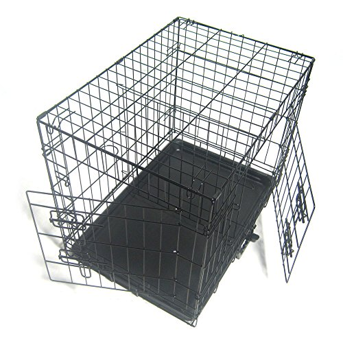 Pet Kennel Cat Dog Folding Steel Crate Animal Playpen Wire Metal Cage Black (24'') by Lykos (Image #4)