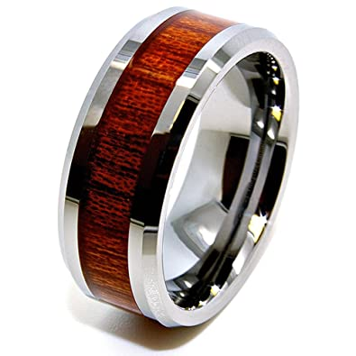 Unisex 8mm Wood Grain Inlay Tungsten Wedding Band Engagement Ring