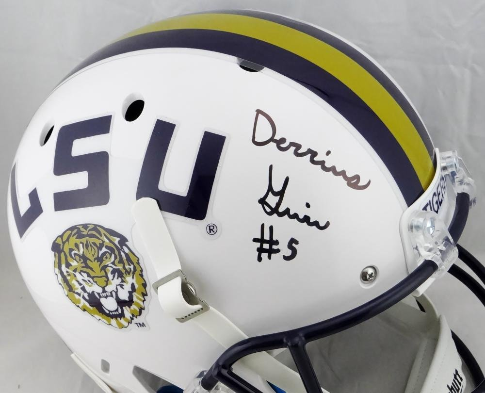 Derrius Guice Autographed LSU Tigers White Full Size Helmet JSA W Auth Black