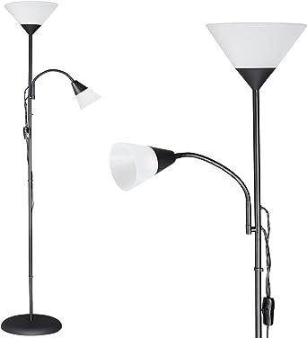 Monzana Lámpara de pie 2 focos separados luz de lectura y de techo Negro brazo de lectura ajustable interior 28x175 cm: Amazon.es: Iluminación