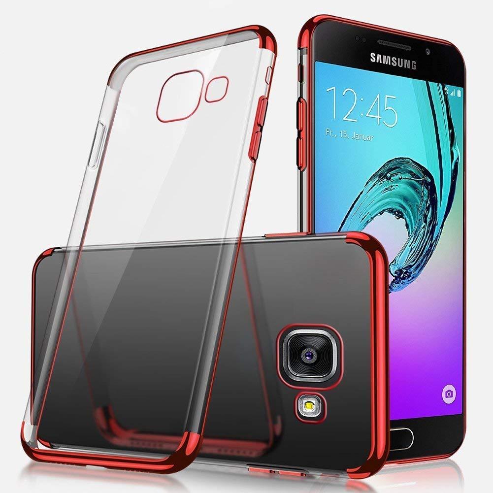 Ukayfe Custodia Compatibile con Samsung Galaxy A5 2016,Trasparente HD Morbido TPU Silicone Cover Lusso Placcatura Bumper Case Ultra Sottile Flessibile Crystal Clear TPU Antiurto Protettiva-Nero