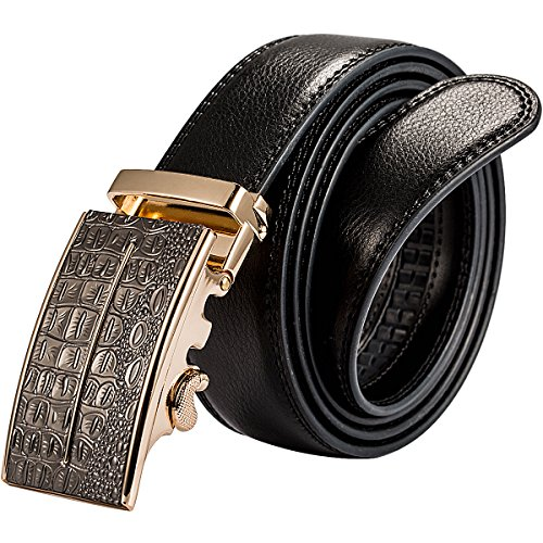 ManChDa Crocodile Skin Pattern Auto Lock Buckle Belts For Men Up To 49 inches (Gold Crocodile Belt)