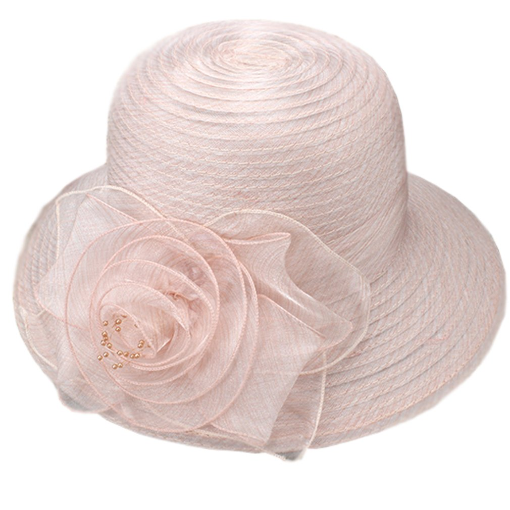 Nercap Women's Fascinator Tea Party Wedding Church Dress Kentucky Derby Hats Wide Brim Summer Cap (Light Pink) by Nercap (Image #2)