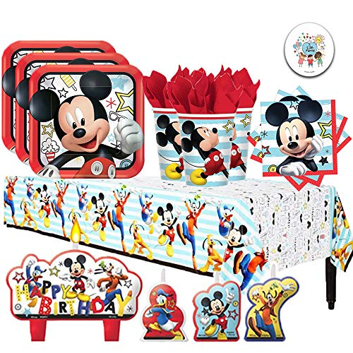 Disney Mickey Mouse On the Go Birthday Supplies Party Pack for 16 Guests with Plates, Napkins, Cups, Tablecover, Candles, and Exclusive Pin By Another -