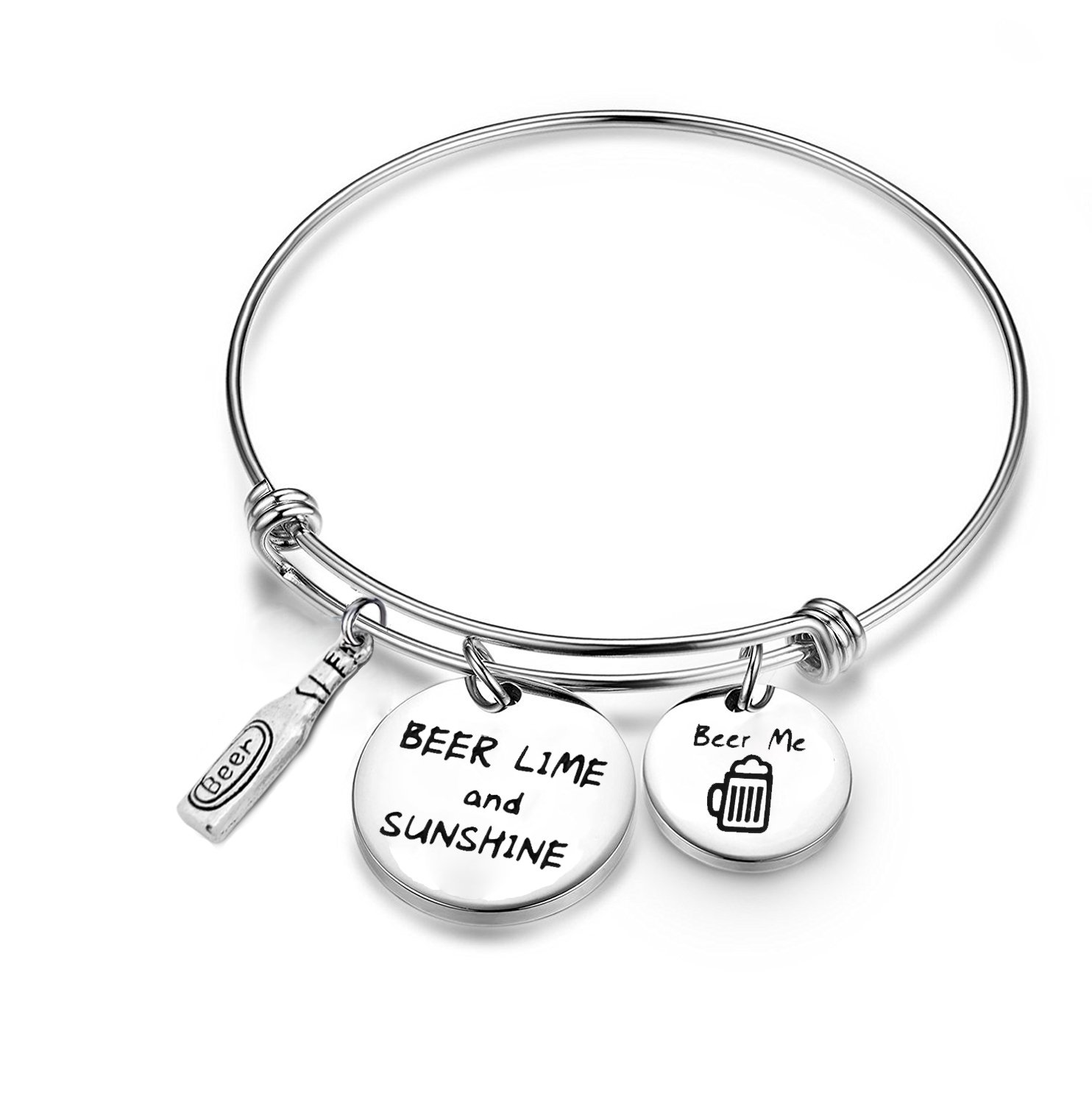 SEIRAA Beer Lover Gift Beer Me Bracelet Stainless Steel Expandable Bangle Retirement Gift Summer Vacation Jewelry (Beer charm bracelet)