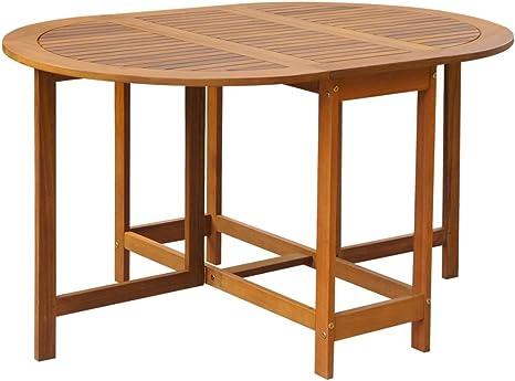 Festnight Gartentisch Esstisch Tisch Terrassentisch Klappbar Oval Akazienholz Amazon De Kuche Haushalt