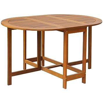 vidaXL Table à Abattants d\'Extérieur Table de Jardin Ovale Bois d ...