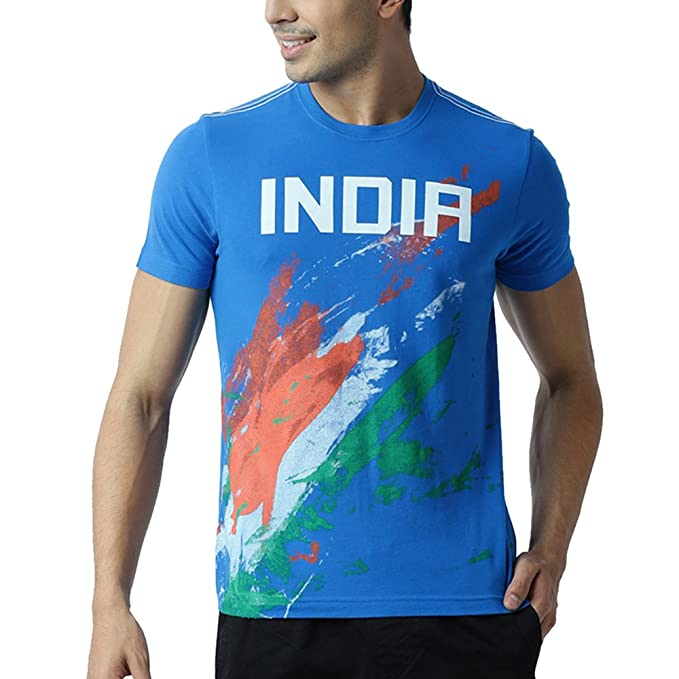 Huetrap Men's Tricolour Splash India Cricket Team Round Neck T-shirt Men's T-Shirts at amazon