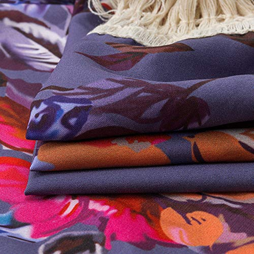 NUWFOR Womens Three Quarter Sleeve Floral Printed Shawl Tassel Kimono Cover Up Cardigan(Purple,L) by NUWFOR (Image #5)