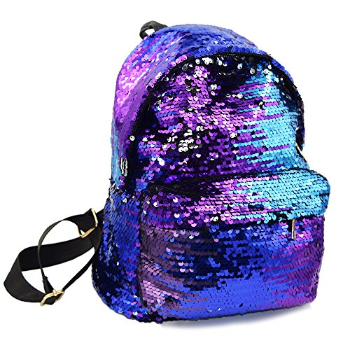 Ibeauti Cute Small Backpack Purse Bling Sequins Backpack School Bags for Teen Girls Women (Blue) -