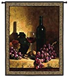 Fine Art Tapestries Wine Bottle With Grapes and Walnuts Small Wall Tapestry 2287-WH 42 inches wide by 53 inches long, 100% cotton