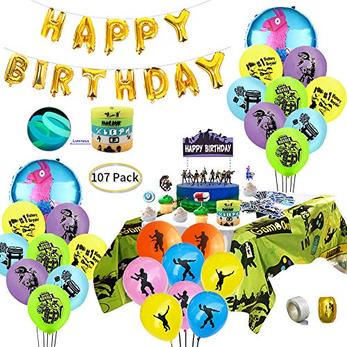Game Party Supplies for Video Gamer, 107 pcs Gaming Theme Party Decorations - including Balloons, Table Cover, Bracelets, Cake Toppers and Sticker (Gta Cake)