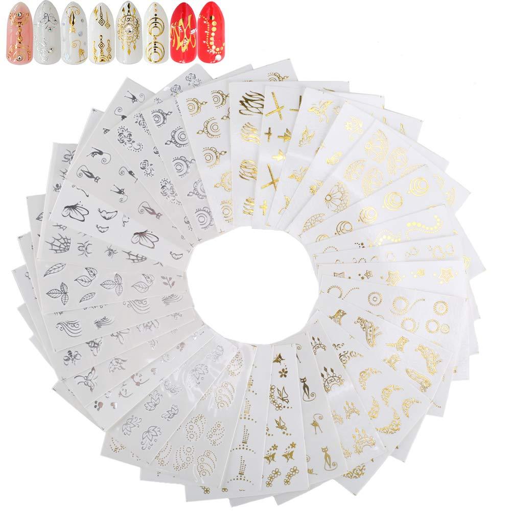 FOGAWA 30 Plaquettes StickersOngle StickersNailsArt pour Faire la Décoration Ongle Professionnelle ou Personnelle, Couleur Argent et Or