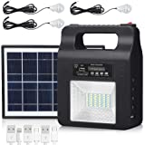 Portable Solar Generator Lighting Kit - 12000mAh Solar Powered Electric Generator System with Solar Panels 3 LED Lamps for Ou