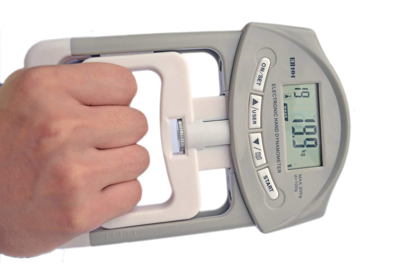 90 Kilogramos con la Pantalla LCD Grande longdafei Equipo de Fuerza de Agarre Electr/ónico Dinam/ómetro Electr/ónico Auto Digital de la Mano del Dinam/ómetro de la Mano de 200 Libras Azul