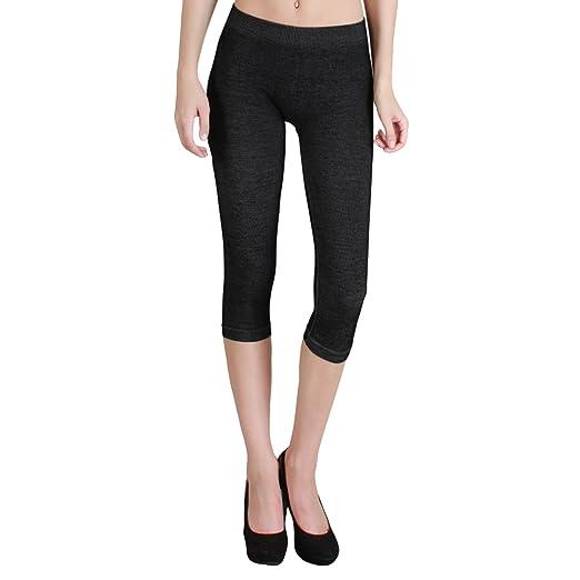 905b8161dd1526 Nikibiki Thick Two-Tone Capri Leggings Made from 92% Nylon and 8% Spandex  (Black) at Amazon Women's Clothing store:
