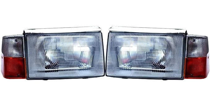 Volvo 244, 86 - 93 Europea e código cristal conversión faros Asamblea Set: Amazon.es: Coche y moto