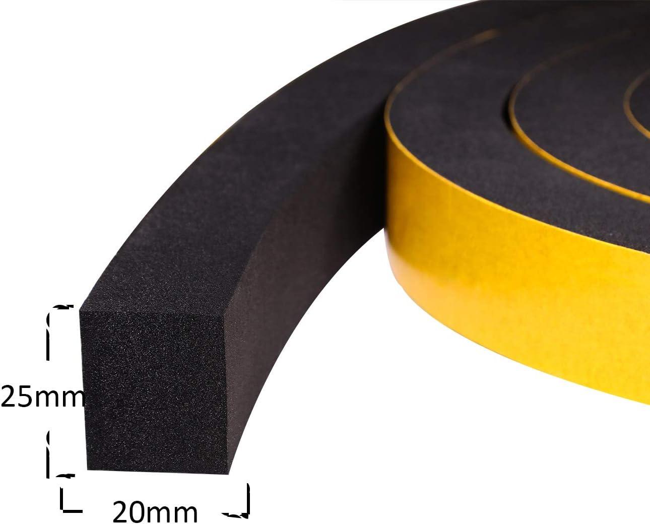 Cinta de espuma gruesa autoadhesiva de 25mm(W) x20mm(T) Cinta de sellado de espuma para jamba de puerta corredera Marco de puerta delantera Ventanas Tira de espuma aislante, 2 piezas total 4M: Amazon.es: