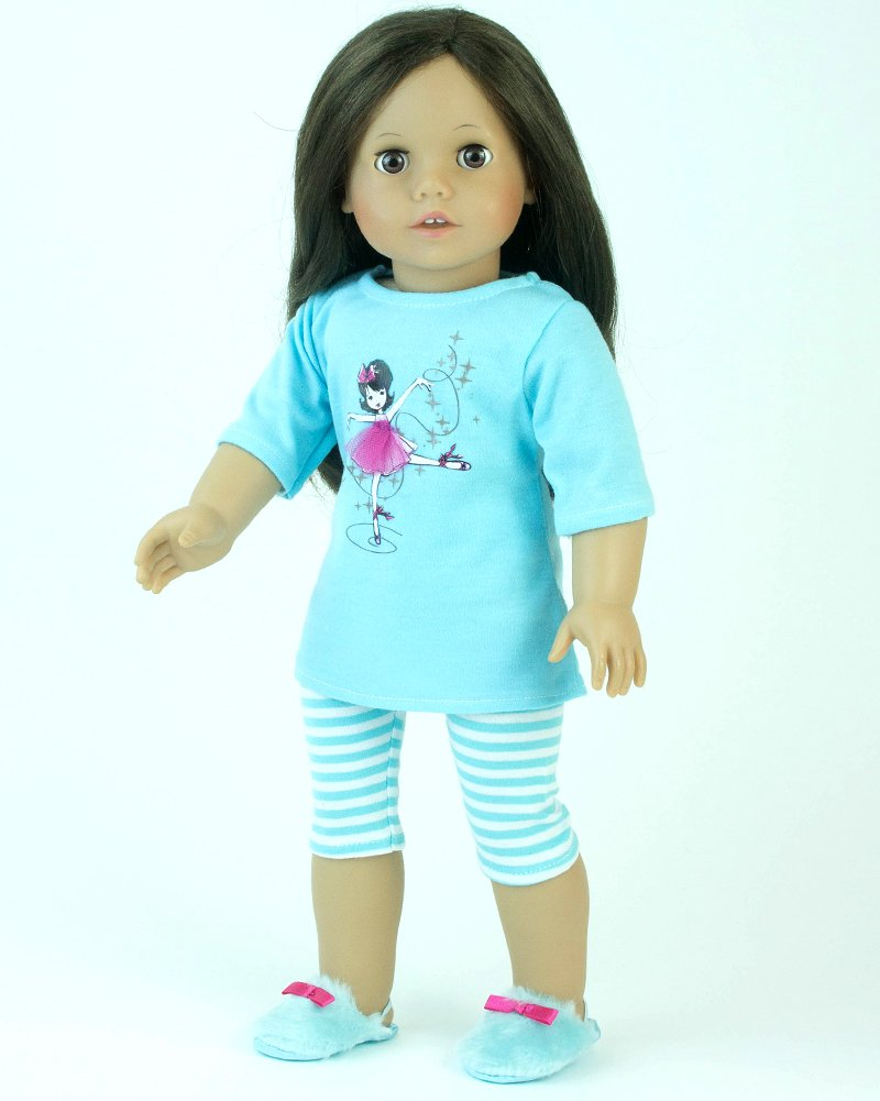 Sophias Set Striped Pants /& Doll Slippers Sleepwear Set Sophia/'s Silk Screened Ballerina /& Tulle Detailed Teal Doll PJs Shirt Fits 18 Inch American Girl Doll Clothes /& More 18 Inch Doll Pajamas 3 Pc