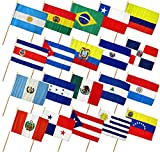 12×18 12″x18″ Set of 20 Latin American Countries Stick Flag wood Staff For Sale